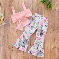 2 Pcs Stylish Tie Front Crop Top and Floral Pants Set