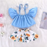 (Only 0-3M in Stock)Off The Shoulder Top and Floral Skirt Set