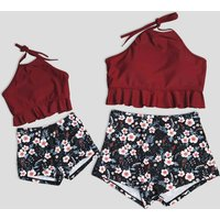 Mom and Me Ruffles Floral Printed Swimsuits