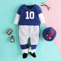 Quarterbaby football Player Costume Cotton Jumpsuit with Cap for Baby