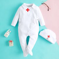 Hospital Nurse Costume White Cotton Jumpsuit with Hat for Baby