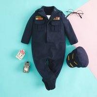 US. Army General Costume Footed Jumpsuit with a Hat Set for Baby and Kids