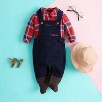 Land Farmer Costume Plaid Cotton Romper for Baby and Toddler