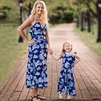 Vintage Floral Printed Strappy Maxi Dress in Blue for Mom and Me