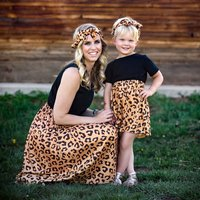 Fashion Leopard Printed Matching Dress and Headband Set for Mom and Me