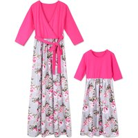 Floral Printed Long Sleeve Maxi Dress in Pink Mom and Me