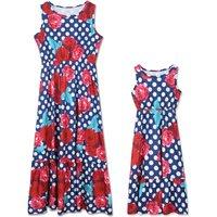 Mom and Me Rose Polka Dots Printed Matching Sleeveless Maxi Dress