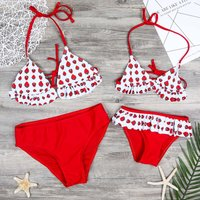 2-piece Lovely Strawberry Bikini Set in Black for Mom and Me