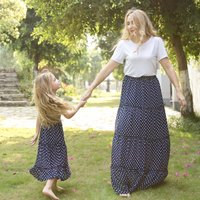Pretty Polka Dotted Ruffled Dress in Navy for Mom and Me