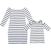 Trendy Long Sleeves Off Shoulder Stripes Dress for Mom and Me