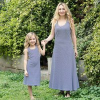 Trendy Stripes Sleeveless Dress in Grey for Mom and Me