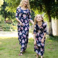 Vintage Floral Printed Long Sleeve Dress in Navy for Mom and Me
