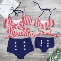 Two-piece Vintage Stripes Bikini Set for Mom and Me