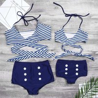 Two-piece Vintage Stripes Bikini Set in Blue for Mom and Me