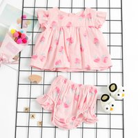 Strawberry Printed Top and Shorts Set in Pink for Baby Girl