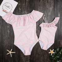 One-piece Adorable Swan Printed Ruffles Swimsuit in Pink for Mom and Daughter