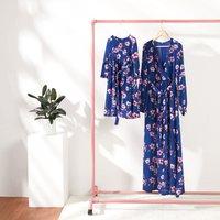 Vintage Floral Printed Long-sleeve V-neck Dress for Mom and Me
