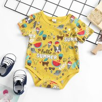 Baby Boy's Short Sleeves Dog and Letter Pattern Bodysuit