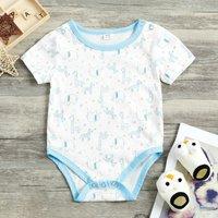 Baby Boy's Short Sleeves Animal and Star Pattern Bodysuit
