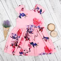 Pretty Back Bow Floral Dress for Baby and Toddler Girl