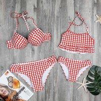 Mom and Me 2-piece Triangle Printed Bikini Set in Red