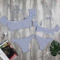 Mom and Me Stripes Off-shoulder Bikini Set in Blue