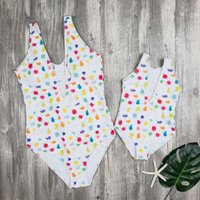 Mom and Me Colorful Dots Printed Lace-up Swimsuit in White