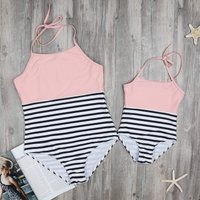 One-piece Stripes Contrast Halter Swimsuit for Mom and Me