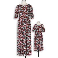 Beautiful Short-sleeve  Floral Maxi Dress for Mom and Me