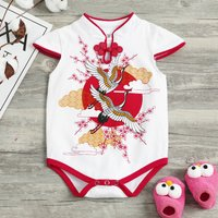 Baby Girl's Chinese Crane Cheongsam Bodysuit in Red
