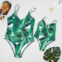 Green Tropical Printed V-neck One-piece Swimsuit for Mom and Me