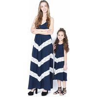 Trendy Sleeveless Lace Stripes Maxi Dress for Mom and Me