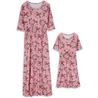Pretty Floral Short-sleeve Dress for Mom and Me
