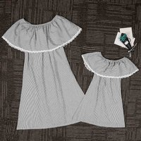 Off Shoulder Flounce Collar Black and White Striped Dress for Mom and Me
