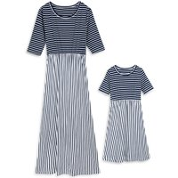 Trendy Halft Sleeves Striped Maxi Dress for Mom and Me