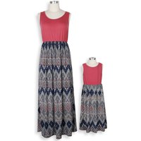 Trendy Color Block Geo Striped Maxi Dress for Mom and Me