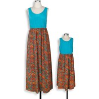 Trendy Color Block Boho Floral Maxi Dress for Mom and Me