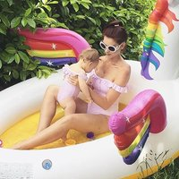 Mom and Me Sweet Ruffles Stripes Off-shoulder Swimsuit in Pink