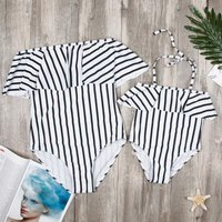 One-piece Mom and Me Ruffles Stripes Off-shoulder Swimsuit