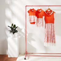Mommy and Me Pretty Lace Bottom Orange Summer Dress