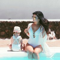 One-piece Lace-up Swimsuit in White for Mom and Me