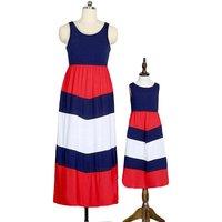 Fashionable Sleeveless Stripes Maxi Dress for Mom and Me