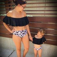 Two Piece Mom and Me Ruffles Palm Printed Bikini Set in Black