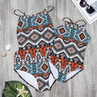 Matching Geometric Sexy Swimsuit for Mommy and Daughter