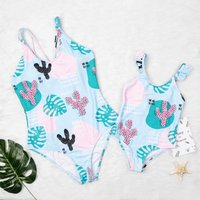 Mom and Me Fresh Tropical Printed One-piece Swimsuit