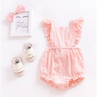 Sweet Solid Ruffled Sleeves Romper for Baby and Toddler Girls