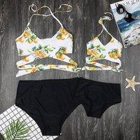 Two-piece Fresh Fruits Printed Warp Bikini Set for Mom and Me