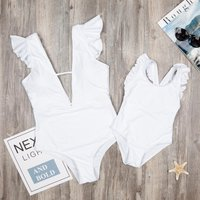 Solid Ruffles One-piece Swimsuit in White for Mom and Me