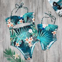 Mommy and Me Allover Printed Hollow Out One-piece Swimsuit in Green