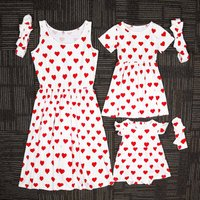 Mommy and Me Heart Print Summer Dress with Hairband